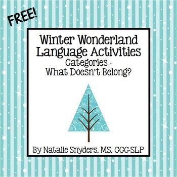 This activity (a FREE sample of my Winter Wonderland Language Activities) is designed to target categories. The stimulus cards list four items, and the student is asked to identify what doesn't belong and why. There are a total of 36 cards for this concept, along with 4 game play cards (take extra turn, give cards away, etc.).