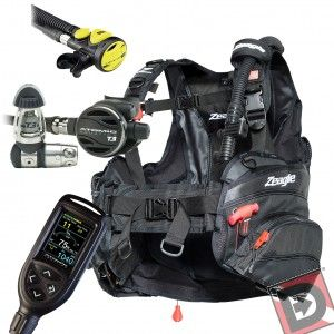 Dive in comfort with the Zeagle Halo Scuba BCD Scuba Package, with high performing scuba components for the best of the best in scuba gear. This complete dive gear package includes the Zeagle Halo Scuba BCD, Cobalt 2 Dive Computer, and Atomic T3 Scuba Reg