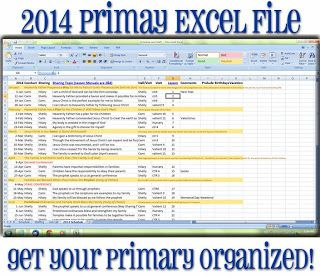 2014 Primary Excel File -- all the Sundays with their sharing time topics as well as monthly themes/songs/scriptures all in one excel spreadsheet.  Just pop your presidency in!