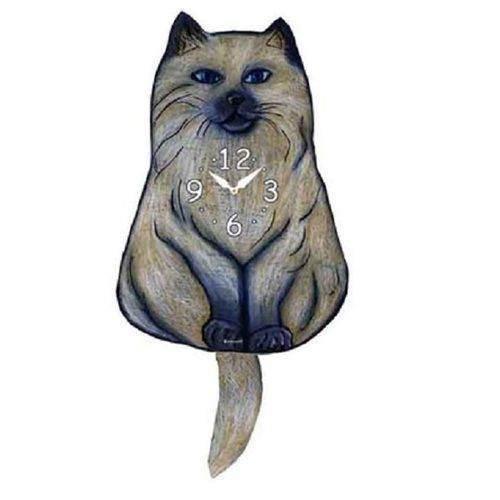Himalayan Cat Wagging Pendulum Clock
