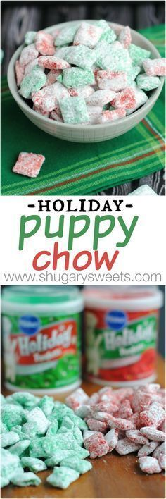 Holiday Puppy Chow: festive red and green muddy buddies for Christmas! Get snacking!