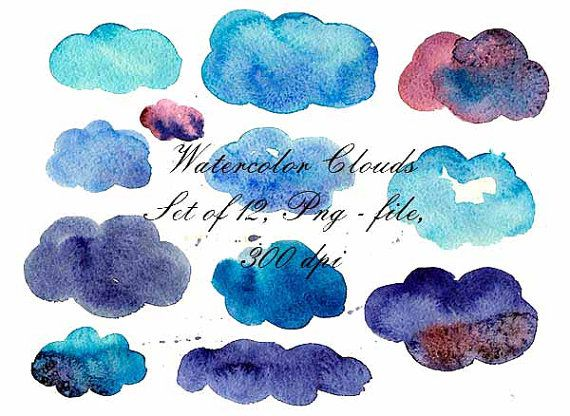 Watercolor Clouds Watercolor Clip Art Digital от VectorGraphicArts