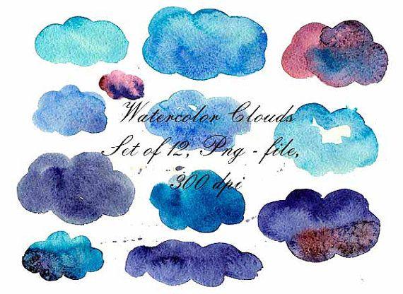Watercolor Clouds Watercolor Clip Art Digital от VectorGraphicArts