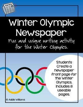 $ - Winter Olympics Newspaper Project - another good idea for the older kids