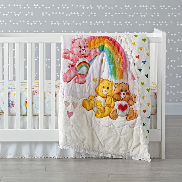 Shop Care Bears Crib Bedding.  Our Care Bears Crib Bedding makes the perfect companion for any nursery.  Cheer Bear, Funshine Bear and Tenderheart Bear are all front-and-center on the embroidered and appliqued baby quilt.