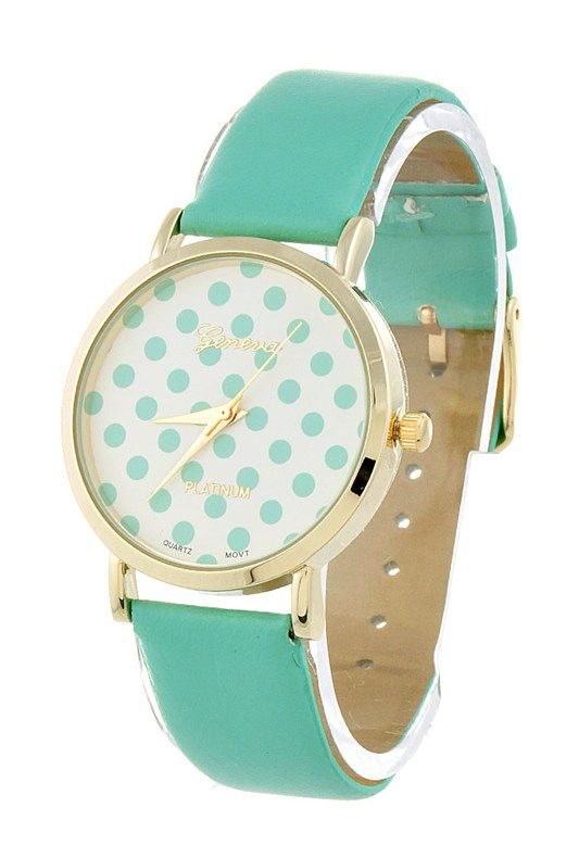 Moment in Time Polka Dot Pattern Dial Watch in Mint Green