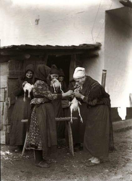 Asszonyok az udvaron tyúktisztítás közben. Fogukkal húzzák ki a tyúkok belét 1934