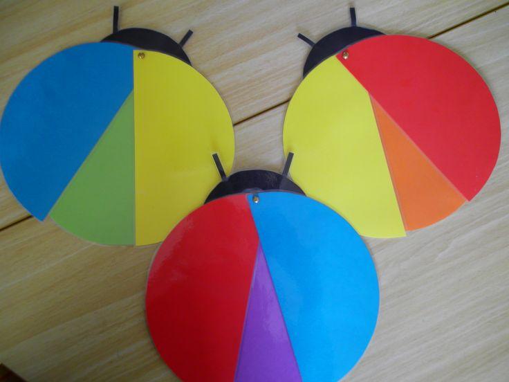kleuren mengen met lieveheersbeestjes Meer ideetjes rond thema Lente: http://www.pinterest.com/liestr/
