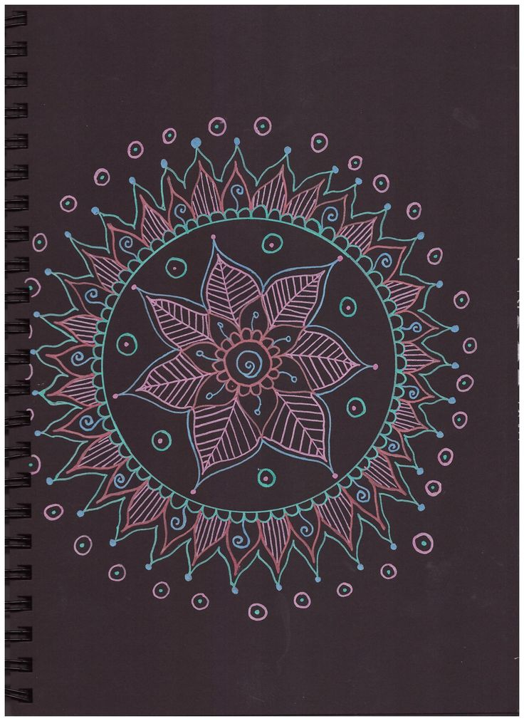 #pattern #in #black #paper #pink #green #blue #posca #mandala