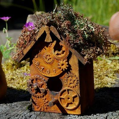 ~ Rusted Steampunk Style Bird House ~  The first song through my mind was They Might Be Giants - Birdhouse in my Soul.