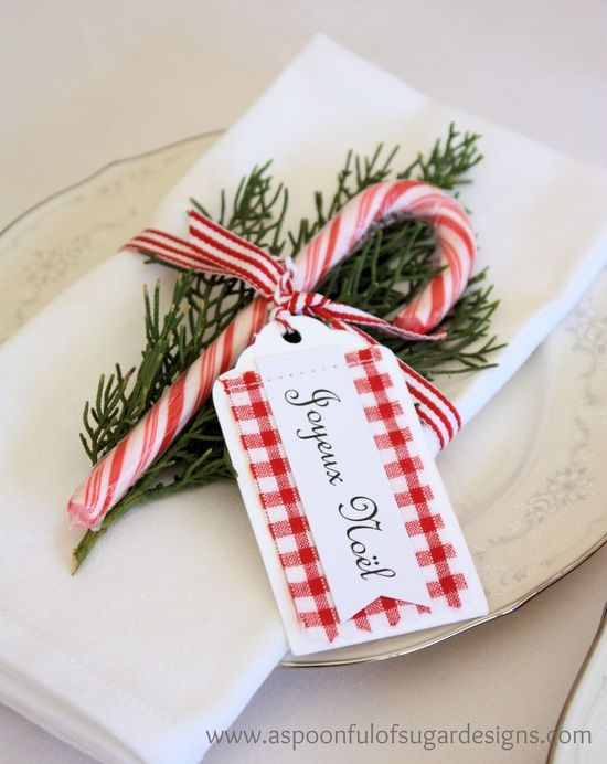 Candy cane place card