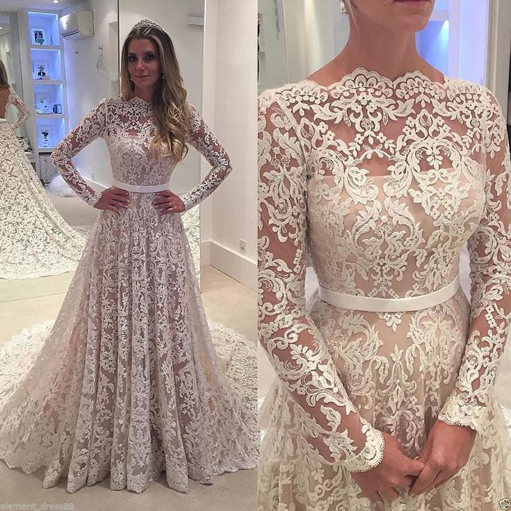 Chapel Train Vintage Lace Long Sleeves Wedding Dresses