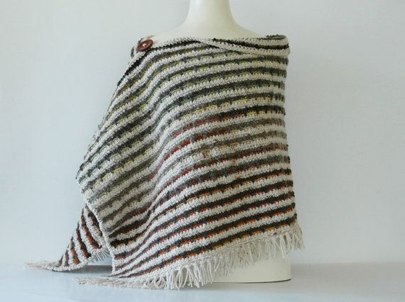 Crochet woollen poncho with earthy stripes by KororaCrafters