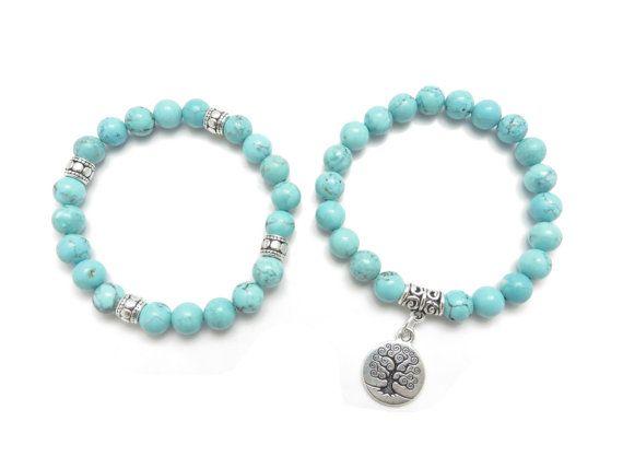 Tree of Life jewelry Yoga Mala Bracelet Turquoise Healing by HVart