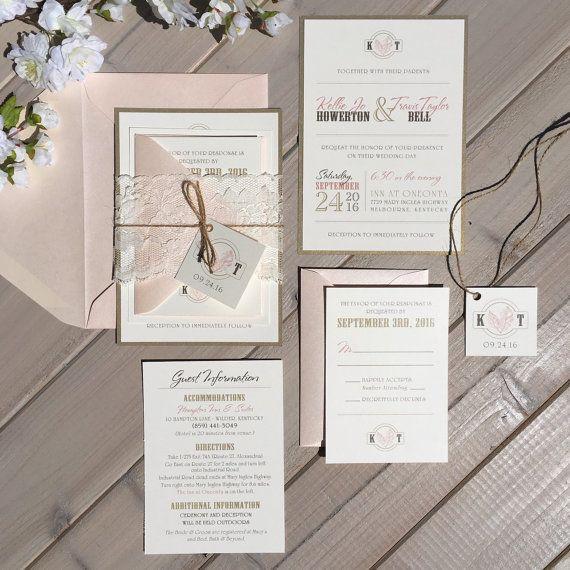 Blush And Gold Wedding Invitations, Blush, Gold And Ivory Wedding  Invitations With Lace And