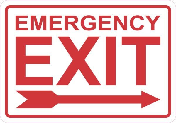 Right Arrow Emergency Exit Sticker