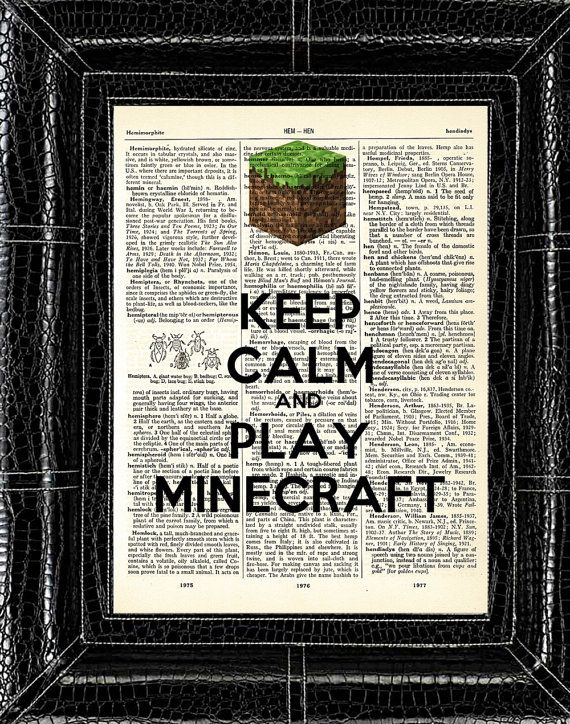 Minecraft Line: Keep Calm and Play Minecraft Vintage Dictionary Art Print 8 x 10 - With Three Printing Options BUY 2 GET 1 FREE. $7.00, via Etsy.