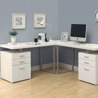 Inspiring L Shaped Home Office Desks for Proper Corner Furniture : Outstanding White L Shaped Home Office Desks Which Has Small Desk Lamp In The Corner And Placed Below Analog Clock Also Two Small Paintings