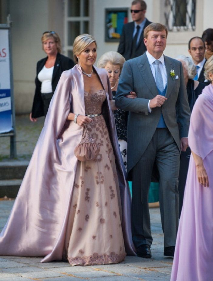 King Willem-Alexander and Queen Maxima of The Netherlands attend Juan Zorreguieta and Andrea Wolf's wedding at palais Liechtenstein on 07.06.2014 in Vienna, Austria.
