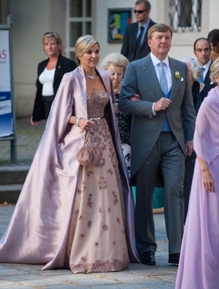 King Willem-Alexander and Queen Maxima of The Netherlands attend Juan Zorreguieta and Andrea Wolf's wedding at palais Liechtenstein on 07.06.2014 in Vienna, Austria.