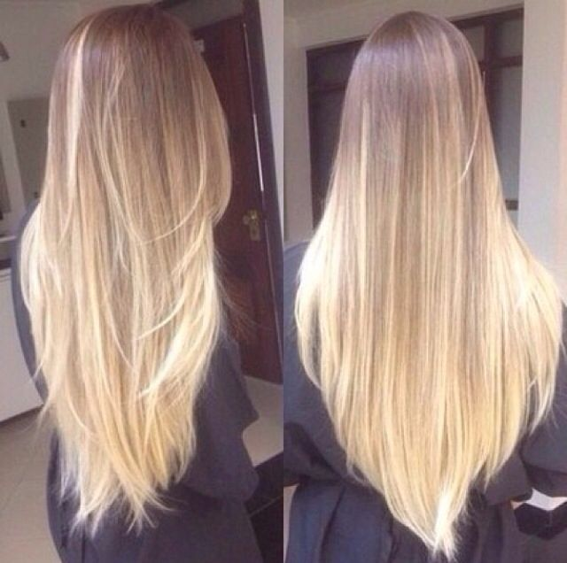 Long straight blond ombre