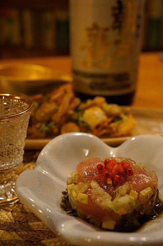 ちぃさん's dish photo ビンチョウマグロのタルタルと栗と百合の根のかき揚げ | http://snapdish.co #SnapDish #レシピ #日本酒 #おつまみ #お刺身/マリネ