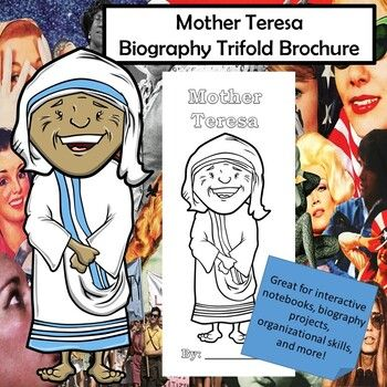 Mother Teresa Biography Trifold Graphic Organizer In 2020 Social Studie Middle School Elementary Lessons Essay Biographical Short