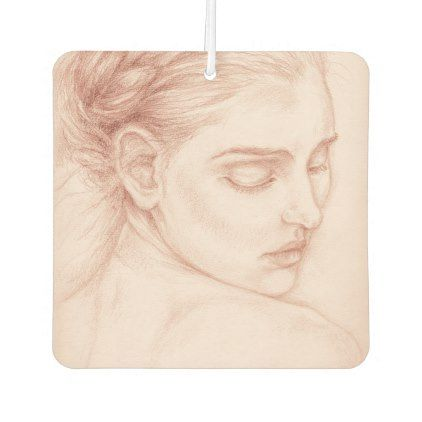 Victorian Lady Portrait Drawing Air Freshener - drawing sketch design graphic draw personalize