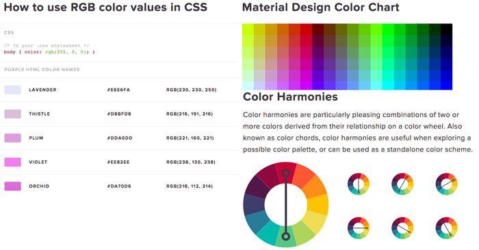 HTML Color Codes - Colores CSS por nombre, armonías, valores hexadecimales y más