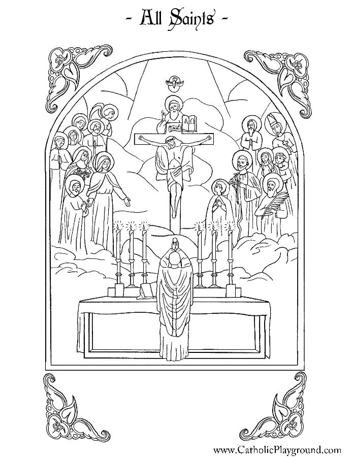 all saints coloring page catholic playground - Catholic Coloring Pages For Kids Free
