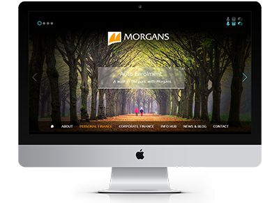 A subtly updated colour palette aided the soft, welcoming design created for Morgans. Full width, with a bespoke mini-site for financial applications and assessments #website #webdesign #finance #morgans