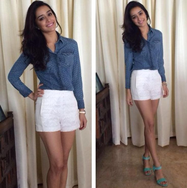 Her love for ZARA was spotted in a casual look at a radio promotion event. She was seen in a denim print shirt with geometric pattern from GAS jeans styled with ZARA white shorts and ankle strap mint heels.