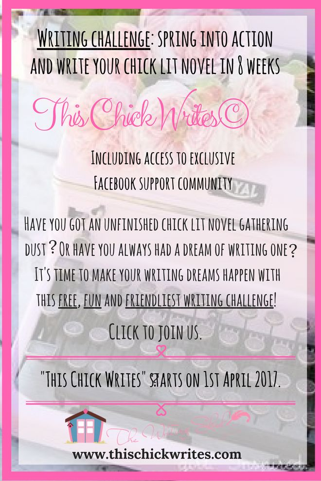 "This challenge is for you, ladies, who LOVE chick lit novels and would love to write one! Think you have a book in you, but that nagging voice inside your head keeps telling you not to bother? I'd say ""give it a try!""   Sign up and partipate of a group with a safe environment to connect with other chick lit fans, and learn tips and tricks of plotting, creating characters, showing x telling, etc. Tell your girlfriends! #thischickwrites #amwriting #writingchallenge #creativewriting #chicklit"