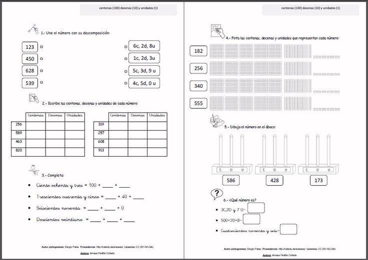 MATERIALES - Fichas y Carteles para Matemáticas de Segundo de primaria: Descomposición de números de 3 cifras.  Se exponen los principales contenidos que se trabajan en Segundo de Primaria, el cartel para recordar y decorar en el aula y las fichas complementarias para repasar el tema con actividades diversas y con apoyos visuales.  http://www.catedu.es/arasaac/materiales.php?id_material=1048