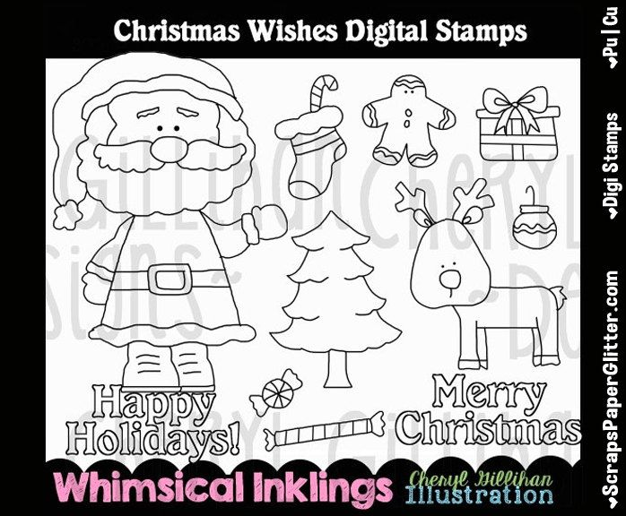 Christmas Wishes Stamps Digital Stamps, Black and White Image, Graphic, Commercial Use, Instant Download, Line Art, Santa, Roudolf, Coloring by ResellerClipArt on Etsy