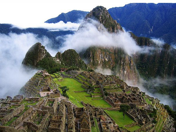 Machu Picchu stands 2,430 meters above sea-level, in the middle of a tropical mountain forest on the eastern slopes of the Andes.