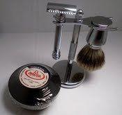 Merkur 38C - Juego de accesorios para afeitado (cuchilla de mango largo, brocha de pelo de tejón con base cromada, jabón de afeitar Omega en caja)