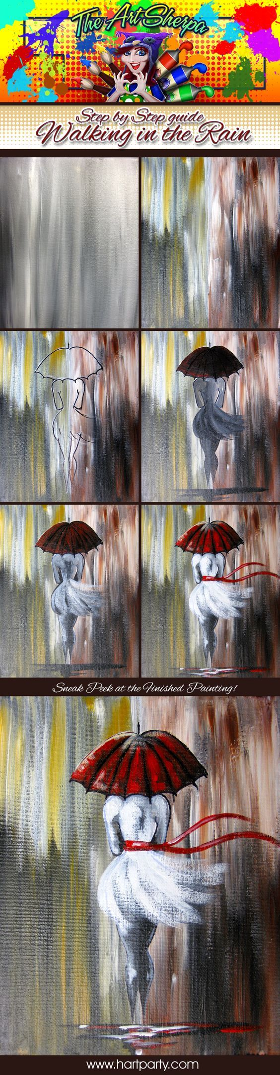 Walking In The Rain step by step. 16x20 Canvas Acrylic paint in the colors Yellow Ocher, Burnt sienna, titanium white, Mars Black, and Cadmium Red. Assorted acrylic brushes- As Seen the fthe fully guided Youtube Tutorial by The Art Sherpa https://youtu.be/vD7x93pLq30:
