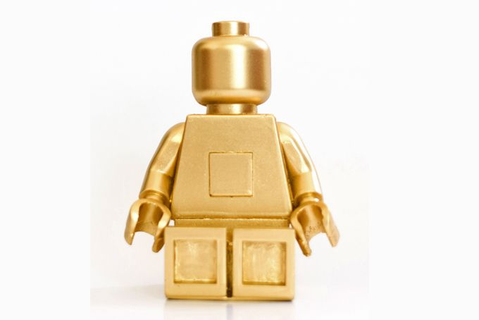 Gold lego bookends by Bigkid Design