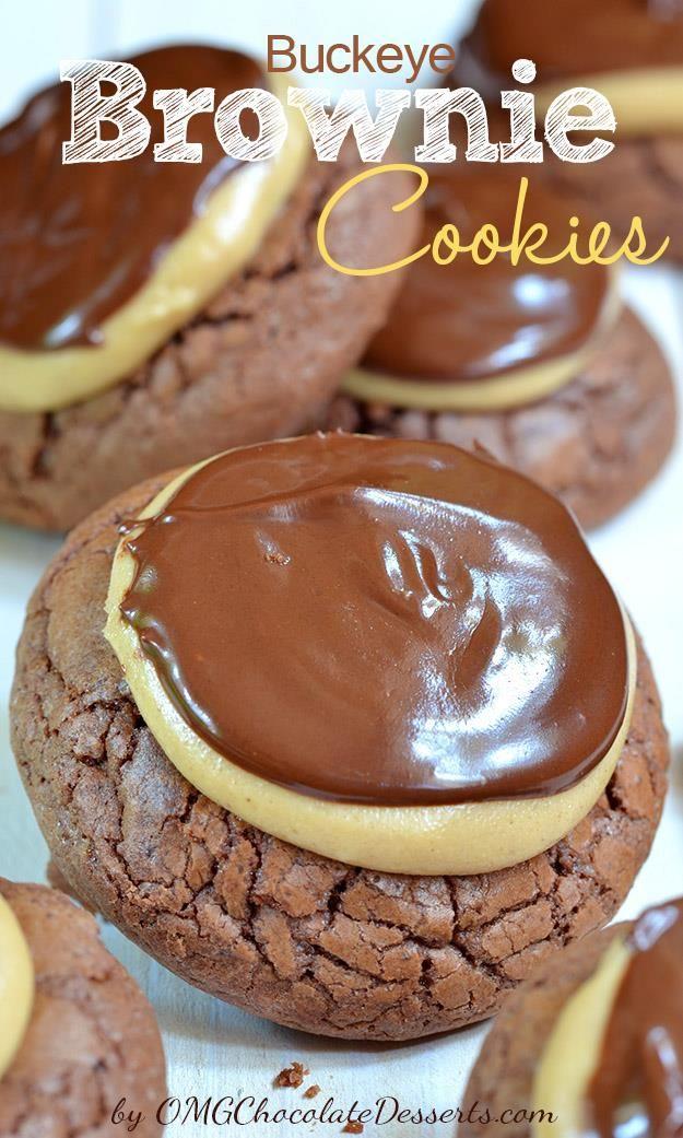 Real jewel in the world of cookies - Buckeye Brownie Cookies (brownie base, peanut butter and chocolate ganache) . #cookies #chocolate