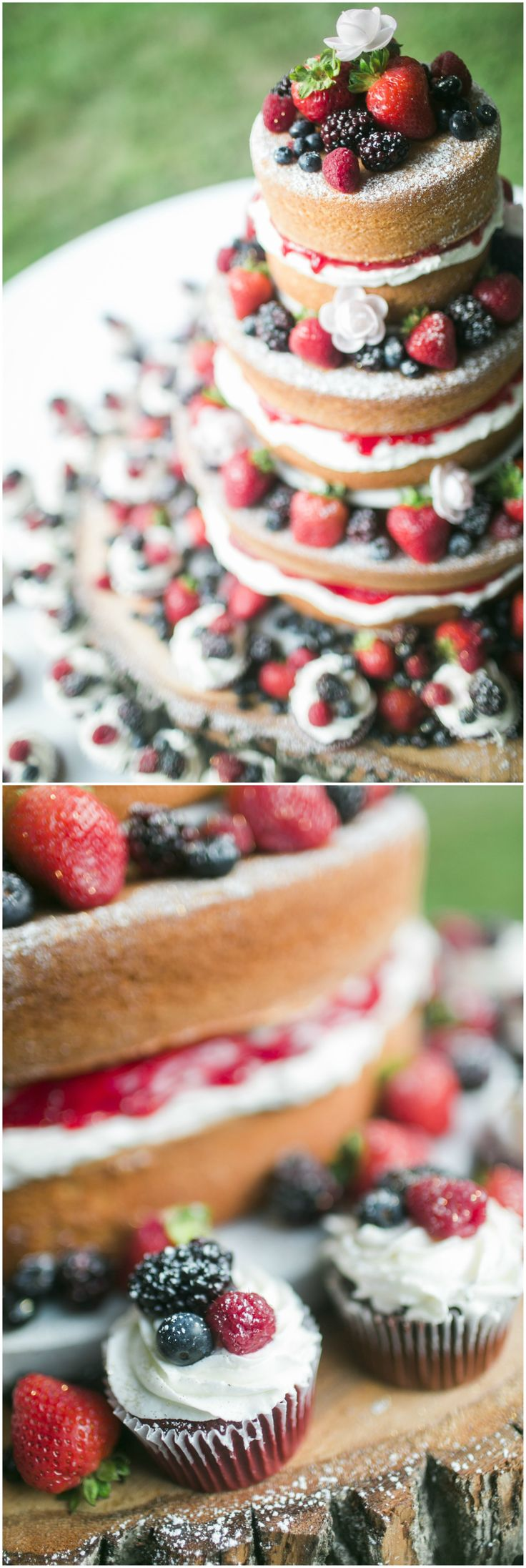 Wedding cake for a summer wedding, naked cake covered in berries, matching cupcakes, rustic cake stand // Red Aspen Photography