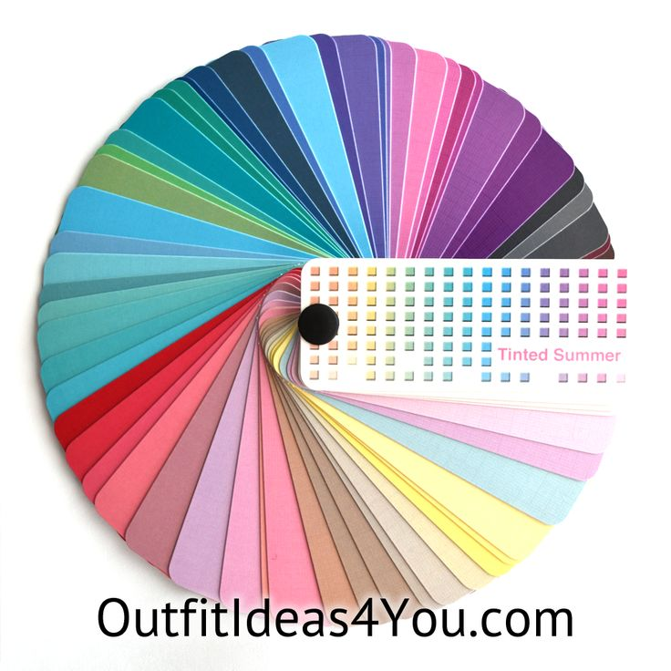 """This gorgeous color fan has60 colorsfrom the light summercolor palette. Folds up into a perfect size for carrying in your purse for shopping: 2.25"""" x 1"""" x 1"""" Each color in the fan has on the back:   Color: the name of the color Temperature: Warm, Cool or Neutral Wardrobe"""