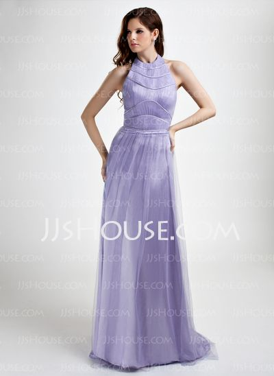 Evening Dresses - $152.99 - A-Line/Princess Halter Sweep Train Tulle Evening Dress With Ruffle Beading (017015765) http://jjshouse.com/A-Line-Princess-Halter-Sweep-Train-Tulle-Evening-Dress-With-Ruffle-Beading-017015765-g15765