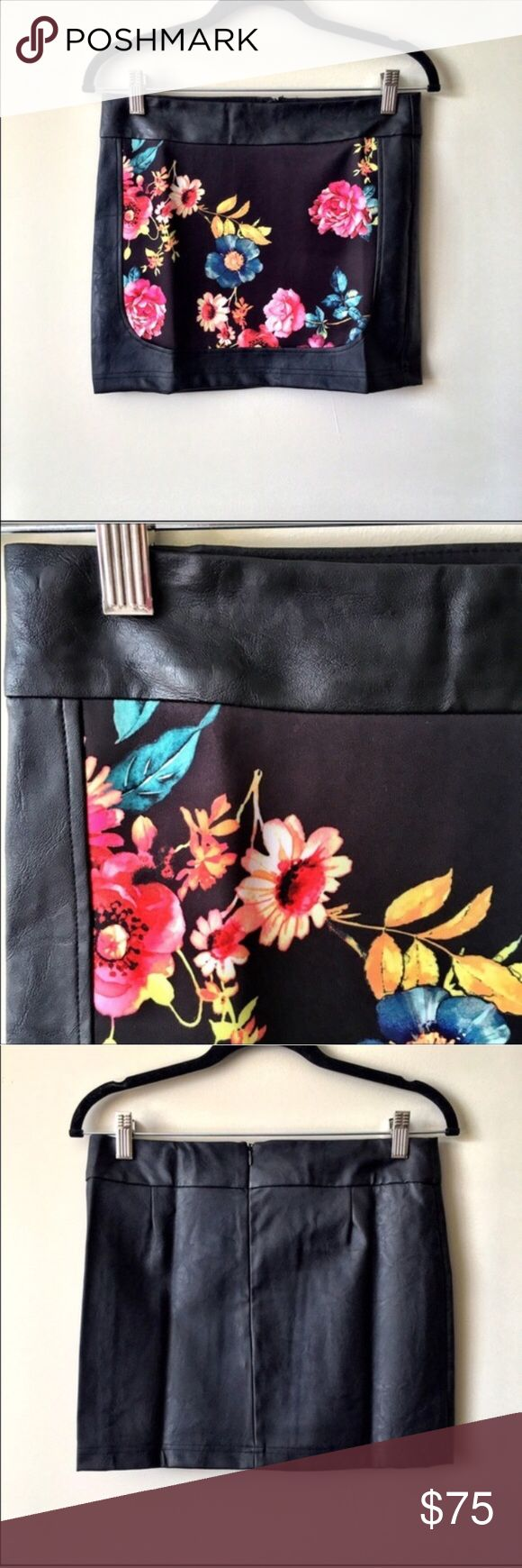 """Whitney Eve Black Faux Leather Floral Skirt NWT Whitney Eve floral mini skirt. A one of a kind piece right on trend. Approx 15"""" in length, 100% polyester. Size Small waist measures 15"""", size M measures 16"""". Whitney Eve Skirts Mini"""
