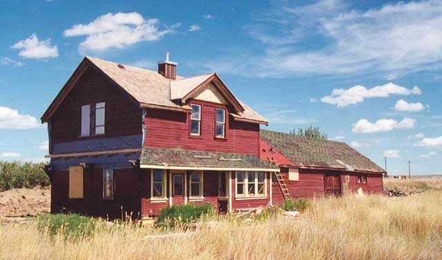Old train station, Manyberries, Alberta Canada prairie