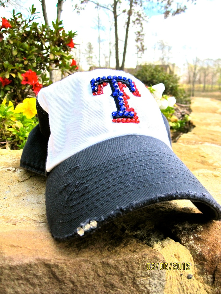 Texas Ranger Baseball Hat Genuine Swarovski by EastBoundandDown, $40.00 it is bejeweled and distressed!