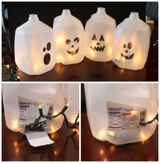 easy halloween craft idea for the kids we had so much fun creating ours recycled juice milk bottle plastic ghosts for decoration kids craft with fairy - Easy Halloween Decorations For Kids