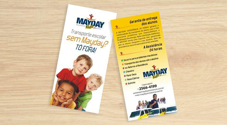 Flyer criado para o serviço MAYDAY KIDS da empresa QG CONTACT CENTER.