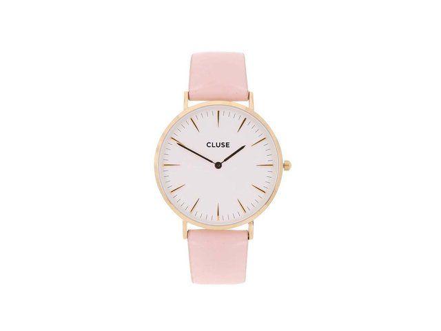 Růžové kožené hodinky CLUSE La Bohème Gold 2489 Kč