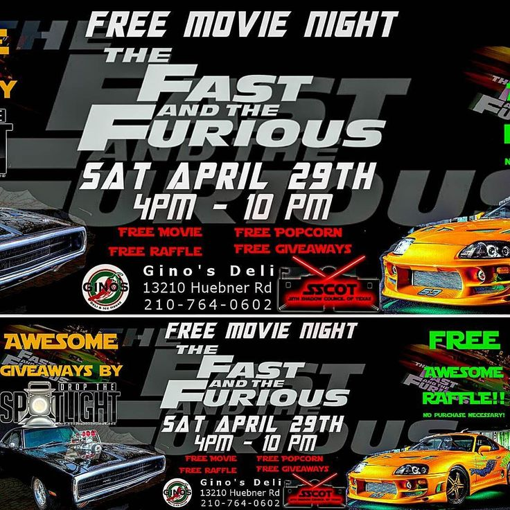 FREE The Fast and the Furious Watch Party. April 29th. 4PM  Come and join SSCOT-Sith Shadow Council of Texas and Dropthespotlight at Gino's Deli Shop for an awesome night of Cars Speed Family and food!!! The Fast and the Furious Watch Party at 4PM -Free Raffle for The Fast and the Furious swag !!! No purchase necessary show up and your name is entered in the raffle -Free Popcorn -Awesome food here at the deli at great prices!!! FREE FUN NIGHT FOR EVERYONE  ALL AGES INVITED!!! KID FRIENDLY…